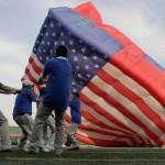 deflating American flag shaped hot air balloon